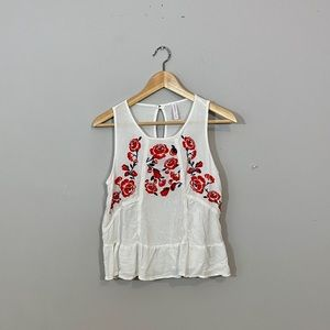 White Top with Red Flowers